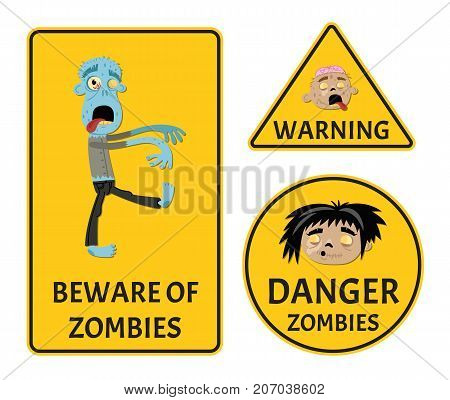Beware of zombies warning stickers set for halloween party. Holiday attribute with undead man, festive horror event labels. Danger symbol collection with cute walking dead vector illustration.