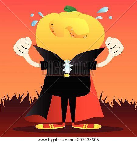 Sad crying Jack O' Lantern with orange pumpkin instead of a head. Vector Halloween Cartoon Character.