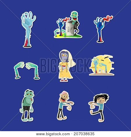 Funny zombie labels set. Halloween holiday sign, horror monster sticker collection, zombie party comic elements, cute walking dead man isolated vector illustration in cartoon style