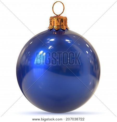 Christmas ball decoration blue closeup New Year's Eve bauble hanging adornment traditional Happy Merry Xmas wintertime ornament polished. 3d rendering illustration