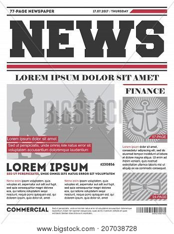 Daily news tabloid vector template. Typography design with columns, daily news page layout, info press vector illustration.