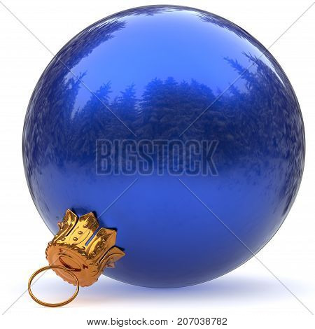 Christmas ball decoration blue bauble closeup Happy New Year's Eve hanging adornment polished traditional Merry Xmas wintertime ornament sparkling. 3d rendering illustration