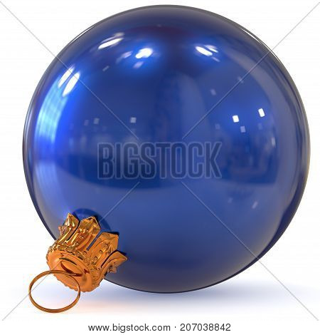 Christmas ball decoration bauble blue New Year's Eve hanging adornment traditional Happy Merry Xmas wintertime ornament polished closeup. 3d rendering illustration