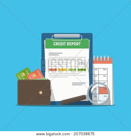 Credit report document concept. Personal credit score information. Vector illustration in flat style.