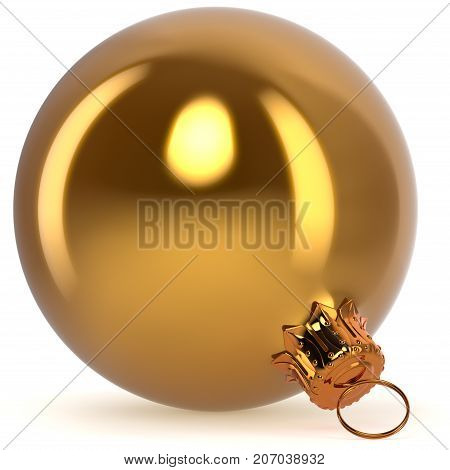 Christmas ball decoration bauble golden New Year's Eve hanging adornment traditional Happy Merry Xmas wintertime ornament yellow polished closeup. 3d rendering illustration