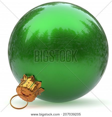 Christmas ball decoration green bauble closeup Happy New Year's Eve hanging adornment polished traditional Merry Xmas wintertime ornament sparkling. 3d rendering illustration