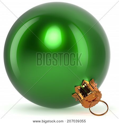 Christmas ball decoration bauble green New Year's Eve hanging adornment traditional Happy Merry Xmas wintertime ornament polished closeup. 3d rendering illustration