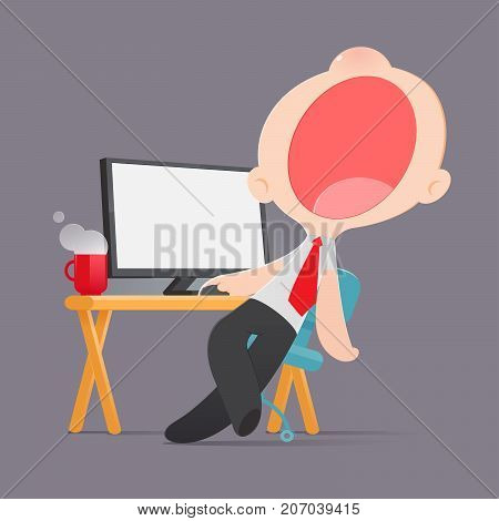 Lazy man disinterested in boring routine Bored yawn businessman sitting half asleep at workplace Cartoon Vector illustration
