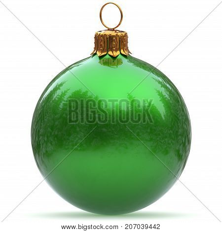 Christmas ball green decoration polished bauble New Year's Eve hanging adornment traditional Happy Merry Xmas wintertime holidays ornament sparkling closeup. 3d rendering illustration