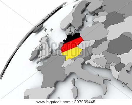 Flag Of Germany On Grey Globe