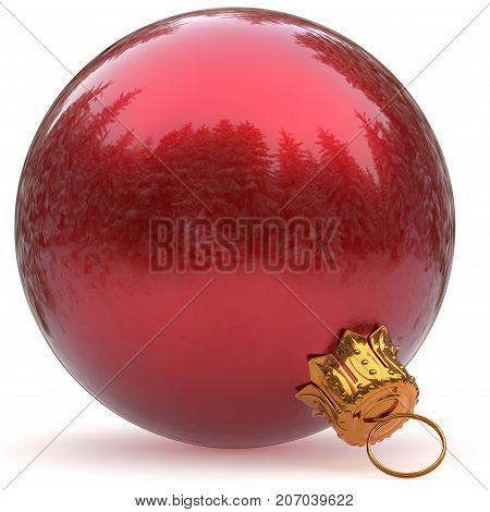 Christmas ball red decoration bauble closeup New Year's Eve hanging adornment polished traditional Happy Merry Xmas wintertime holidays ornament shiny excellent. 3d rendering illustration