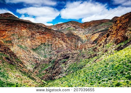 South African mountains, beautiful landscape background, aerial view of African continent, scenic wild nature, Outeniqua Pass, ecotourism and travel