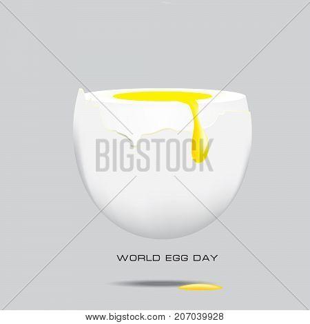 Egg yolk draining over the egg whites of chicken eggs. World Egg Day poster.