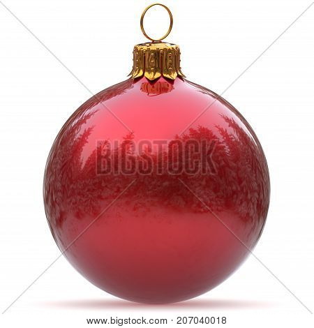 Christmas ball red decoration polished bauble New Year's Eve hanging adornment traditional Happy Merry Xmas wintertime holidays ornament sparkling closeup. 3d rendering illustration