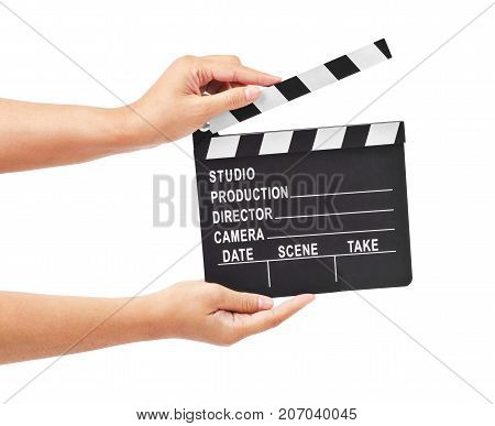 Blank movie production clapper board or slate film in hand isolated on white background Save clipping path.