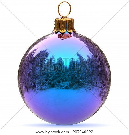 Christmas ball decoration blue bauble Happy New Year's Eve hanging adornment traditional Merry Xmas wintertime ornament sparkling closeup. 3d rendering illustration