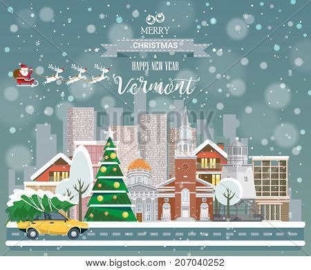 Christmas greeting card in flat modern style. Merry Christmas and Happy New Year, Vermont