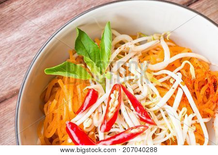 Close up thai style noodles Pad-Thai Thai cuisine.
