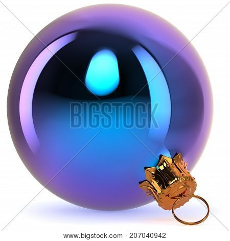 Blue Christmas ball decoration New Year's Eve bauble hanging adornment traditional Happy Merry Xmas wintertime ornament polished closeup. 3d rendering illustration