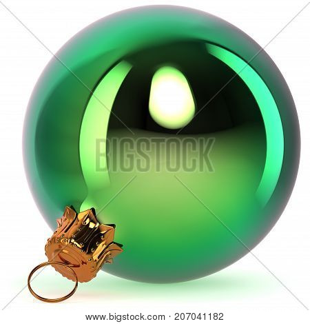 Green Christmas ball decoration New Year's Eve bauble hanging adornment traditional Happy Merry Xmas wintertime ornament polished closeup. 3d rendering illustration