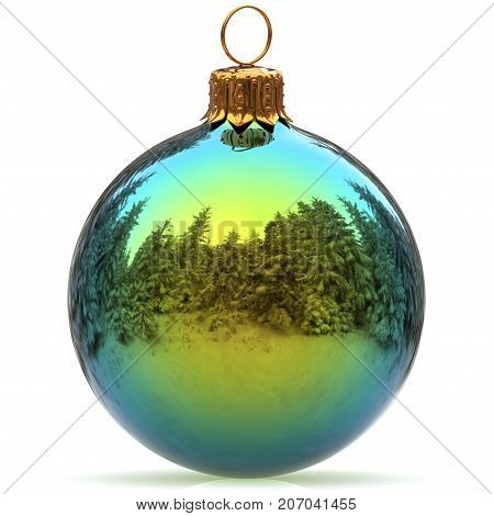Christmas ball decoration green polished bauble Happy New Year's Eve hanging adornment traditional Merry Xmas wintertime ornament sparkling closeup. 3d rendering illustration