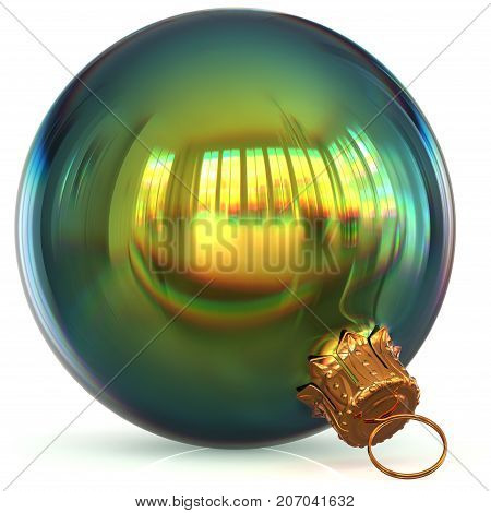 Christmas ball decoration green bauble closeup New Year's Eve hanging adornment polished traditional Happy Merry Xmas wintertime ornament sparkling. 3d rendering illustration