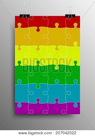 Vertical Poster Banner A4 Sized Vector Paper Clips. LGBT Pride Flag in Vector Format. Rainbow Flag. Pride Symbol Vector Illustration.