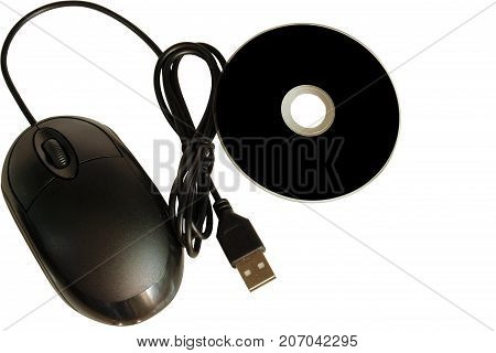 close up of a cd dvd disc and a computer mouse on white background. insulation.