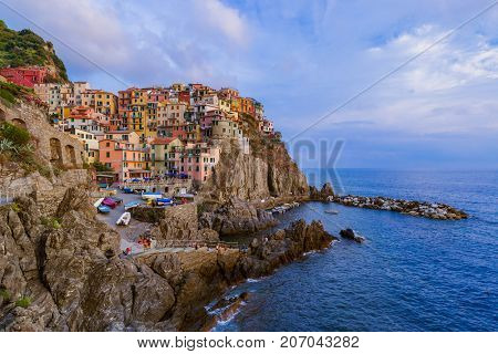 Manarola in Cinque Terre - Italy - architecture background