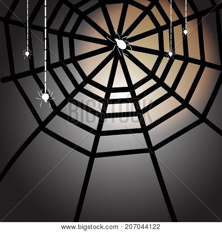 Created halloween full moon night with spiders stock vector