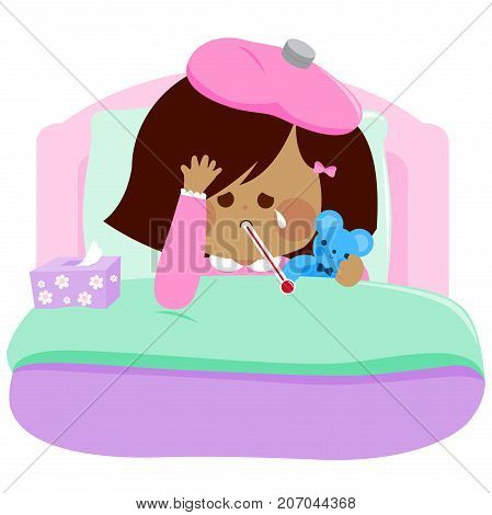 Little girl lying sick in bed and holding her teddy bear toy. Vector illustration
