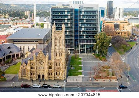 Adelaide Australia - June 28 2017: St. Francis Xavier's Catholic Cathedral on Victoria Square in Adelaide CBD viewed from above at morning time