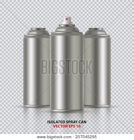 Paint Aerosol Spray Metal 3D Bottle Can, Graffiti, Deodorant, Household Chemicals, Poison. Front View. Vector Illustration Isolated On transperent Background. Mock Up Template For Your Design. poster