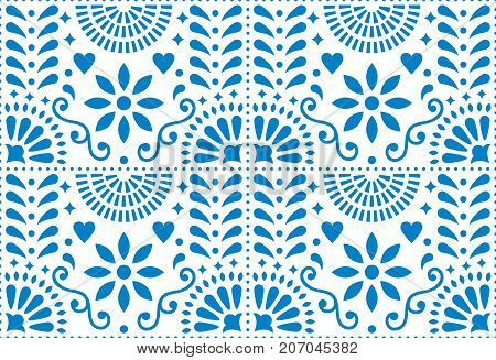 Folk art vector seamless pattern, Mexican blue design with flowers inspired by traditional art form Mexico