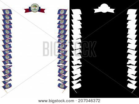 Frame And Border With Flag And Coat Of Arms Belize 3D Illustration