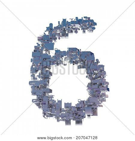 number 6, six, collected from metal parts, 3d illustration