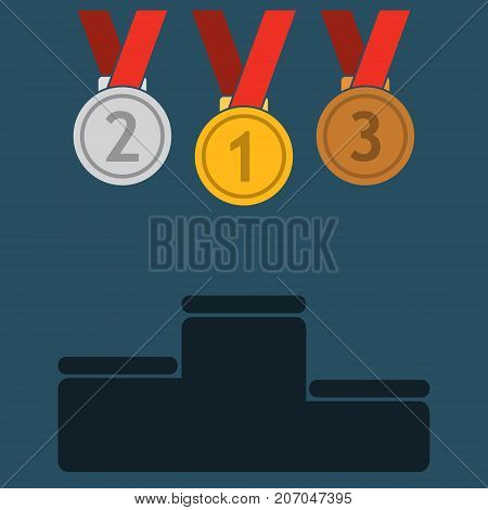 Three medals icon gold silver and bronze. First second and third place medal with ribbon and podium. Award for winner and champion. Vector isolated object.