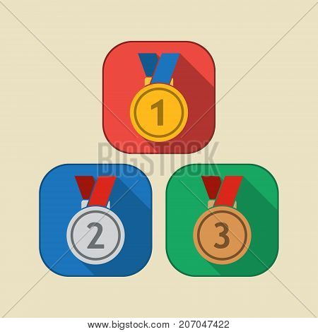 Three medals icon gold silver and bronze. First second and third place medal with ribbon. Award for winner and champion. Vector isolated object.
