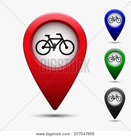 Colored map pointer with bicycle road symbol. For location map. Mark icon. Sign for gps navigation. Index location on map. Pointer location. Vector isolated ilustration.