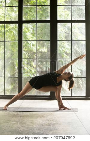 Young sporty woman practicing yoga, stretching in Extended Side Angle exercise, Utthita parsvakonasana pose, working out, wearing sportswear, black shorts, top, indoor full length, studio background