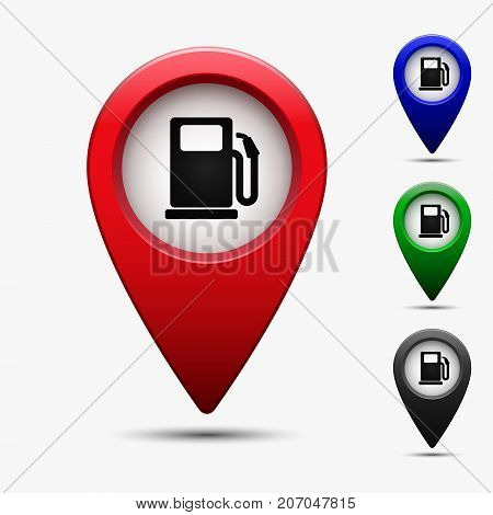Colored map pointer with gas station symbol. For location map. Mark icon. Sign for gps navigation. Index location on map. Pointer location. Vector isolated ilustration.