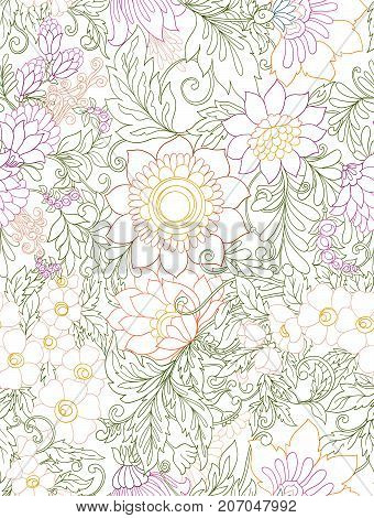 Seamless pattern, background with abstract decorative summer flowers. Colored stock line vector illustration.