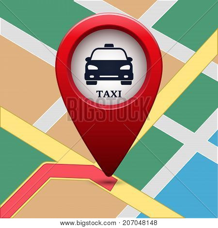 Colored map pointer with symbol taxi and map. For location map. Mark icon. Sign for gps navigation. Index location on map. Pointer location. Vector isolated ilustration.