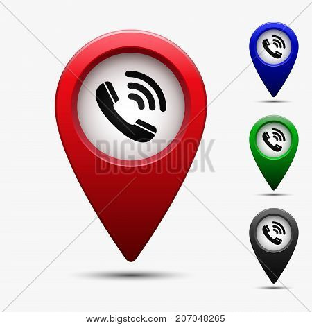 Colored map pointer with phone symbol. For location map. Mark icon. Sign for gps navigation. Index location on map. Vector isolated ilustration.