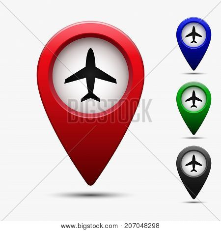 Colored map pointer with airplane port symbol. For location map. Mark icon. Sign for gps navigation. Index location on map. Vector isolated ilustration.