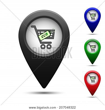 Colored map pointer with symbol supermarket. For location map. Mark icon. Sign for gps navigation. Index location on map. Pointer location. Vector isolated ilustration.