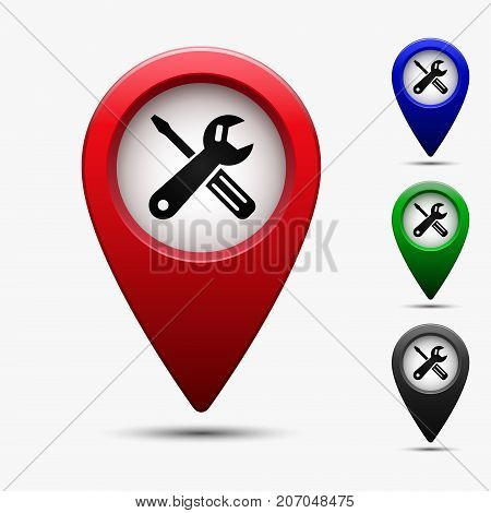 Colored map pointer with symbol car service. For location map. Mark icon. Sign for gps navigation. Index location on map. Pointer location. Vector isolated ilustration.