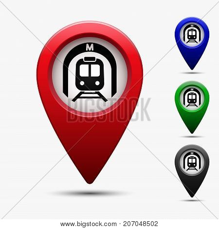 Colored map pointer with symbol subway. For location map. Mark icon. Sign for gps navigation. Index location on map. Pointer location. Vector isolated ilustration.