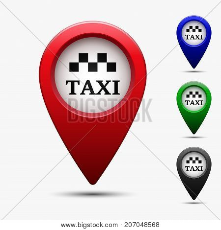 Colored map pointer with symbol taxi. For location map. Mark icon. Sign for gps navigation. Index location on map. Pointer location. Vector isolated ilustration.