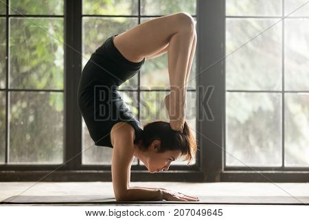 Young attractive woman practicing yoga, standing in Scorpion exercise, vrischikasana pose, working out, wearing sportswear, black shorts and top, indoor full length, studio background